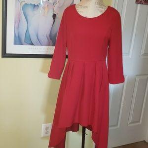 Patrizia Luca NWT flared hi low RED Dress